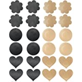 12 Pairs Womens Sexy Pasties Disposable Stain Adhesive Nipple Cover Pathes Flower & Round & Heart