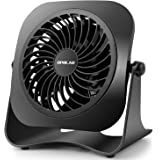 OPOLAR 4 Inch Mini USB Desk Fan, 2 Speeds, Lower Noise, USB Powered, 360° Up and Down, 3.8 ft Cable, Powerful Black Fan for H