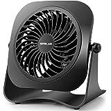 OPOLAR ミニUSB卓上扇風機 2段階風量調節 上下360°調節可能 パワフル 静音 コンパクト 小型 USBファン おしゃれミニファン デスクファン 猛暑対策 プレゼント ブラック