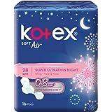 Kotex Soft Air Feminine Care Pads, Super Ultrathin Wing, 28cm, 16ct