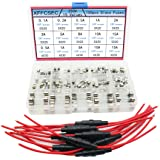 10pcs 5x20mm Fuse Holder Inline Screw Type with 18 AWG Wire + 150pcs Quick Blow Glass Tube Fuse Assorted Kit Amp 250V 0.1A,0.