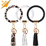 3 PCS Keychain Round Car Keyring Chain Cute Key Ring Tassel Bracelets Wristlet Key Chains Women for Girl and Valentine Birthd