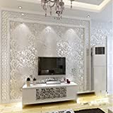 KeTian Modern Luxury Victorian Damask Embossed Textured for Living Room/Bedroom/TV Background PVC Wallpaper Roll 0.53m (1.73'