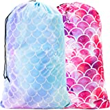 """Sylfairy 2 Pack Extra Large Travel Laundry Bag, 24"""" x 36"""" Durable Rip-Stop Dirty Clothes Shoulder Bag with Drawstring, Wash M"""