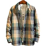 [メリュエル] 2カラー S~L ビター系 薄手 カジュアル チェック シャツ 大人 スマート 羽織り ウッドボタン 春夏 メンズ