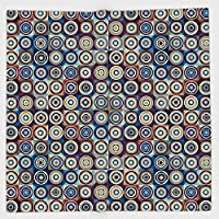 コットンマイクロファイバーハンドタオル、幾何装飾、モダンリングformedラウンドスパイラル渦円多くのトーンアートワーク、ロイヤルブルーUmber、子供、十代、と大人、片側印刷 13.77