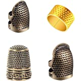 4 Pieces Sewing Thimble, Metal Copper Sewing Thimble Finger Protector Adjustable Finger Shield Ring Fingertip Thimble Sewing