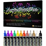 Desire Deluxe Acrylic Paint Pens - Non Toxic Water Based Rock Painting Waterproof Kit Markers for Stone, Ceramic, Glass, Wood