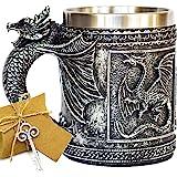 Beer Steins Viking Mug Stainless Steel Coffee Cup Gift Mug 12 OZ DragonMug-1