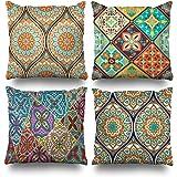Suesoso Decorative Pillows Case 18 X 18 Inch Set of 4,Ethnic Mandala Ornament Throw Pillowcover Cushion Decorative Home Decor