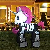GOOSH 6FT Inflatable Halloween Decoration Inflatables Unicorn Blow Up Outdoor Yard Decoration Halloween Skeleton Horse