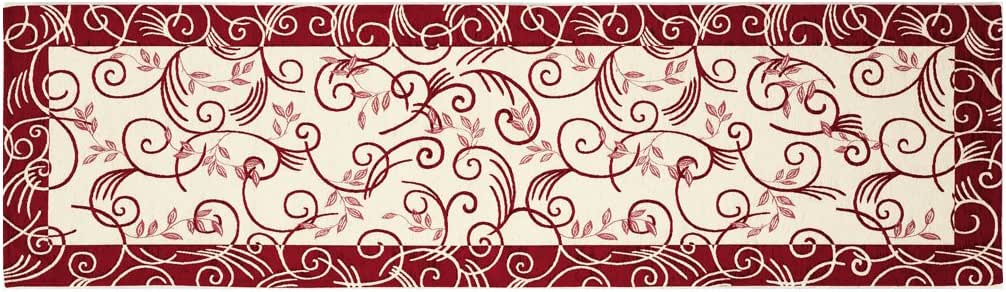 ヨーロピアンイタリア製ゴブラン織りロングマット ウィンド 65×180#1515 レッド