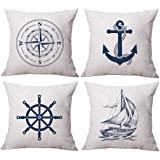 ULOVE LOVE YOURSELF Coastal Sailing Throw Pillow Case Blue Compass/Anchor/Sailboat/Navigation Pattern Ocean Theme Cushion Cov