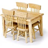 PIXNOR Pcs Dollhouse Miniature Dining Table Chair Wooden Furniture Set