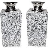 花立【お墓用】高級白みかげ石 ステンレス花筒付 2個(1対)セット L01