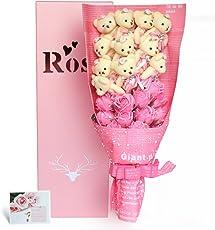 YOBANSA 造花 花束 くま束 ベア ブーケ 可愛いぬいぐるみ (ベア11匹,花11匹) 成人礼 結婚式 結婚記念日 出産祝い プロポーズ 誕生日プレゼント お祝いギフト