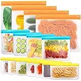 Reusable Storage Bags,15 Pack BPA Free PEVA Resuable Freezer Bags,Resable Gallon Bags, Reusable Sandwish Bags, Silicone Food