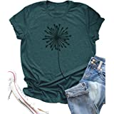 LANMERTREE Graphic T Shirt for Women Cute Dandelion Make a Wish Vintage Tees Funny Summer Short Sleeve O Neck Blouse Tops