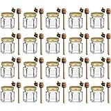 1.5 oz Hexagon Mini Glass Honey Jars with Wood Dipper, Gold Lid, 20 Pack