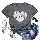 KIDDAD Women's Love Heart Baseball Print Graphic Funny T-Shirt Summer Casual Short Sleeve Pullover Tees Top