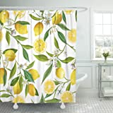 TOMPOP Shower Curtain Green Brazil Floral Pattern Lemon Fruits Flowers Leaves Elegant Exotic Waterproof Polyester Fabric 72 x