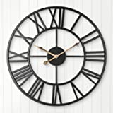 Silent Wall Clock, ARVINKEY European Farmhouse Vintage Clock with Roman Numerals, 40cm Non-Ticking Battery Operated Metal Ske