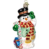 Old World Christmas Ornaments: Candy Cane Snowman Glass Blown Ornaments for Christmas Tree