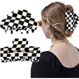 Hair Claw Clips Checker Hair Clips Banana Barrettes Acrylic Black White Vintage Jaw Clips French Tortoise Shell Grip Pin Teet