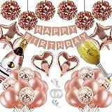 Birthday Decorations, Happy Birthday Banner, Metallic Rose Gold Confetti Balloons, Foil Balloons,Tissue Flowers,Girls Women R