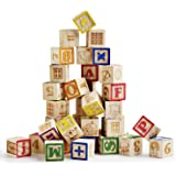 SainSmart Jr. Wooden ABC Blocks 40PCS Stacking Blocks Baby Alphabet Letters, Counting, Building Block Set with Mesh Bag for T