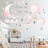 Dream Big Little One Elephant Wall Stickers, Pink Moon Hot Air Balloon Grey Stars Wall Decals for Nursery Kids Room Living Ro