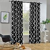 (130cm x 210cm, Black) - Melodieux Moroccan Fashion Room Darkening Blackout Grommet Top Curtains, 130cm by 210cm, Black (1 Pa