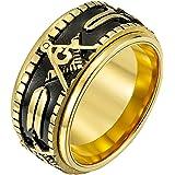 Rinspyre Men's Stainless Steel Vintage Spinner Freemason Masonic Ring Silver Gold Plated