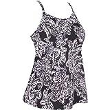 JINXUEER Women's Plus Size Flowy Swimsuit Crossback Tankini Top Modest Swimwear