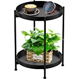 Round Side Table 2-Tier Black Sofa Table Small Tray Metal End Table,Foldable Accent Coffee Table for Small Spaces,Bedroom,Pat