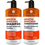 Keratin Shampoo and Conditioner Set - Sulfate Free Deep Treatment with Morrocan Argan Oil - Anti Frizz for Dry Hair and Extra