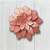 Juegoal Metal Flower Wall Art Decor for Indoor Outdoor Home Bedroom Living Room Office Garden Pink