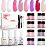 LTULOVE Nail Dipping Powder Kit Pink French White 8 Colours 10g Acrylic Dipping Powder 4 x 12ml Top and Base Coat Activator B