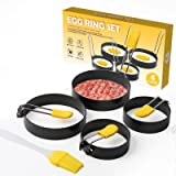 Stainless Steel Egg Rings 4 Pack,Egg Cooker Maker Molds Set Non Stick Coating Breakfast Tool with Anti-scald Handle and Oil B