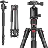 """Neewer Carbon Fiber 66""""/168cm Lightweight Portable Camera Tripod Monopod with 360 Degree Ball Head and Bubble Level, Load Cap"""