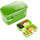 Supplim Bento Box for kids and Adults,2-In-1 Compartment Lunch Box Leak Proof Durable Lunch Container With Ice Bag and Spoon