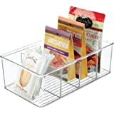 mDesign Plastic Food Storage Organizer Bin Box Container - 4 Compartment Holder for Packets, Pouches, Ideal for Kitchen, Pant
