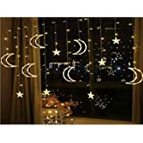 Ramadan 138 LED Curtain Decoration Twinkle Star Moon USB Light Window Lights, Festival Party Decoration Fairy Lights Curtain