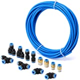 """AIRTOON Air Hose Pipe Tube Kit 6mm OD with 1/4"""" Push to Connect Air Fittings (13 PCS)"""