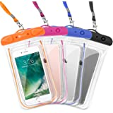 F-color Waterproof Case, 4 Pack Transparent PVC Waterproof Phone Pouch Dry Bag for Swimming, Boating, Fishing, Skiing, Raftin