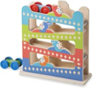 "Melissa & Doug First Play Roll & Ring Ramp Tower, Cars and Vehicles, 2 Wooden Cars, 12.625"" H x 4.375"" W x 11.125"" L"
