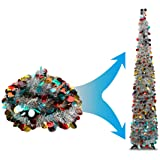 Joy-Leo 5 Foot Silver Multicolored Shiny Tinsel Christmas Tree Reflective Sequins, Collapsible Tinsel Tree Plastic Stand, Dec