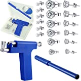 Stainless Steel Body Ear Piercing Tool Set Ear Nose Navel Piercing Machines with 12 Pairs Stainless Steel Stud Earrings for S