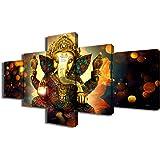 TUMOVO Hindu 5 Piece Painting on Canvas, Artwork-01, 50''Wx24''H