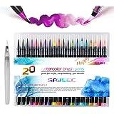 Watercolour Brush Pens Set,SAYEEC Set of 20 Watercolour Paint Brush Art Marker Pens with 1 Refillable Blending Water Brush So
